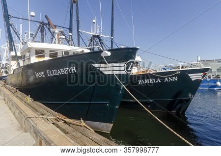 New Bedford, Massachusetts, Usa - June 8, 2019: Commercial Fishing Boats Jane Elizabeth And Pamela A