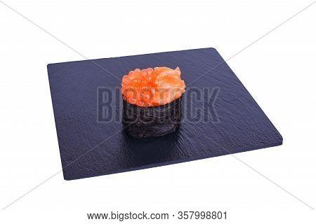 Traditional Fresh Japanese Sushi On Black Stone Gunkan Ikura Syake On A White Background. Gunkan Ing