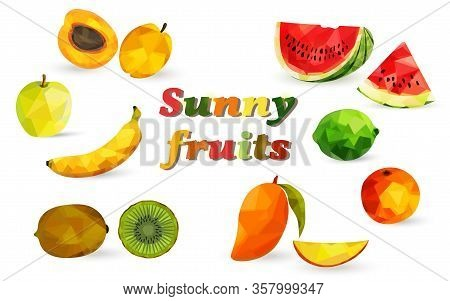 Bright Fruits And Berries In The Style Of Low Poly, Watermelon, Apricot, Mango, Banana, Kiwi, Lime,
