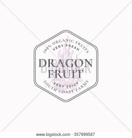 Dragon Fruit Frame Badge Or Logo Template. Hand Drawn Exotic Dragonfruit Sketch With Retro Typograph