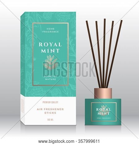 Mint Branch Home Fragrance Sticks Abstract Vector Label Box Template. Hand Drawn Sketch Flowers, Lea