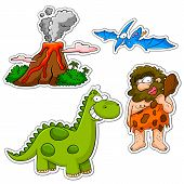 set of cartoons related to the prehistoric age poster