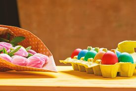 Tulip Flower Bouquet. Healthy And Happy Holiday. Painted Eggs In Egg Tray. Happy Easter. Egg Hunt. S