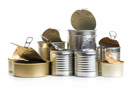 A Lot Of Uncovered Metal Tin Cans Isolated On A White Background