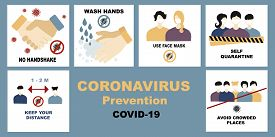 Coronavirus, Covid-19 Vector Set, Bundle. No Handshake And Wash Hands, Self Quarantine And Avoid Cro