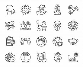 Coronavirus Line Icons. Medical Mask, Washing Hands Hygiene, Protective Glasses. Stay Home, Hands Sa