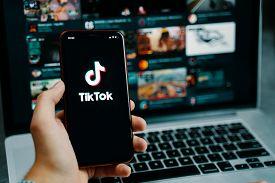 Bishkek, Kyrgyzstan - March 14, 2020: Tiktok App. Tik Tok Application Icon On Iphone Screen. Tiktok