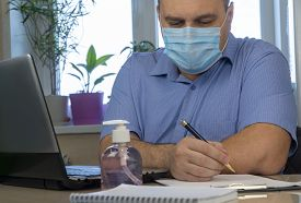 Quarantine Due To The Coronavirus Pandemic. Remote Work Or Distance Learning. Business Man Working F