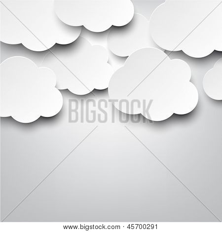 Vector abstract background composed of white paper clouds over grey. Eps10.