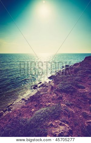 beautiful view of sea cost and rocks