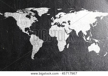 world map on chalk board. Earth silhouette is from visibleearth.nasa.gov