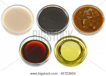 Different Bowls of Soybean (Soya beans) Products - Soy Milk, Dark Soy Sauce, Salted Fermented Soya Beans, Light Soy Sauce, and Soybean oil