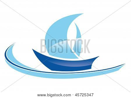 blue sailing boat stylized on a white background poster