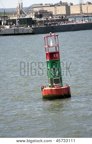 NEW YORK - MAY 17: A bouy floats in New York Harbor on May 17, 2013 in New York.