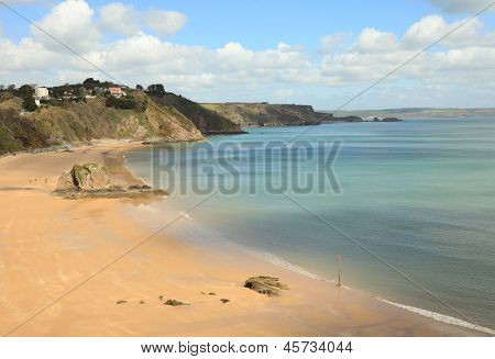 A view of the beach at Tenby, in Pembrokeshire, West Wales, shortly before the start of the holiday season.