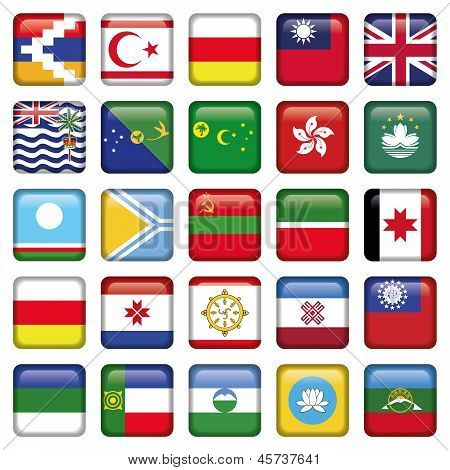 Set of Asian Squared Flags