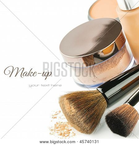Basic make-up products. Foundation, powder and brushes poster