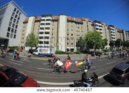 Teacher's Fahrrad-Parade-Demonstration In Berlin