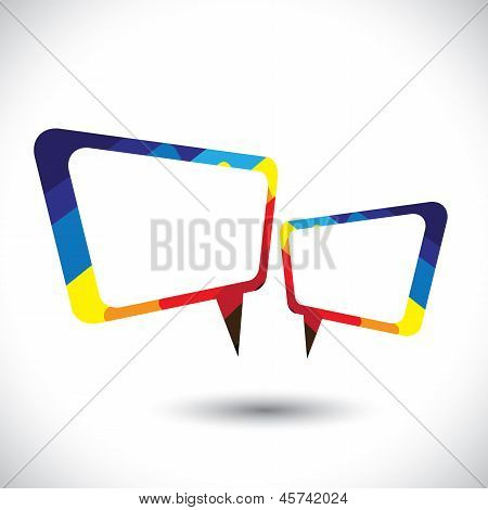 Colorful Chat Icon Or Speech Bubble Symbol- Vector Graphic