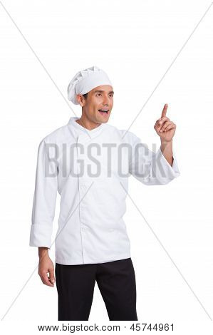 Male Chef  Making Hand  Gesturing Isolated On White
