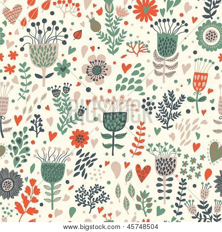 Bright floral romantic seamless pattern in vector. Seamless pattern can be used for wallpapers, pattern fills, web page backgrounds,surface textures. Gorgeous seamless floral background