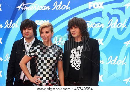 LOS ANGELES - MAY 16:  Neil Perry, Kimberly Perry and Reid Perry arrive at the American Idol Seaon 12 Finale at the Nokia Theater at LA Live on May 16, 2013 in Los Angeles, CA