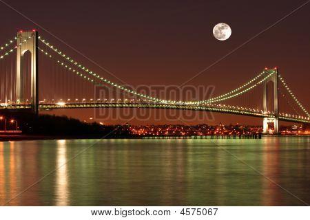 Full Moon Over The Verrazano Narrows Bridge