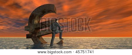 High resolution conceptual currency euro symbol and 3D businessman sinking in ocean as a concept for European crisis as a banner