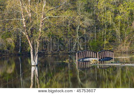 Bridge Underwater At Rebecca Lake Park
