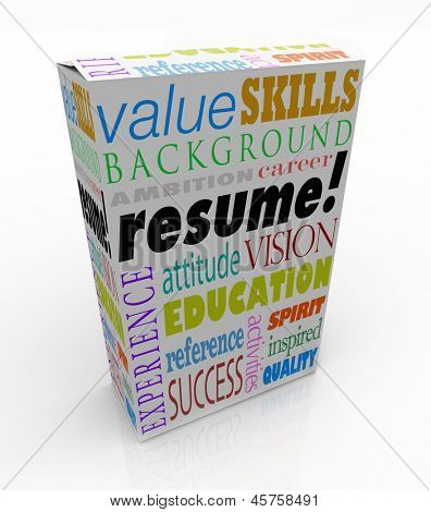 A resume on a unique product or box to present you in an interview as the best candidate to be hired for a job, presenting your background, experience, education, skills and career goals poster