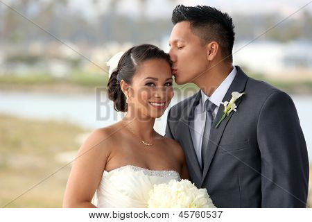 Loving bride and groom at their wedding