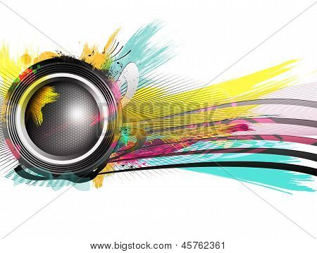 Speaker With Splash And Explosion Shapes And Colors