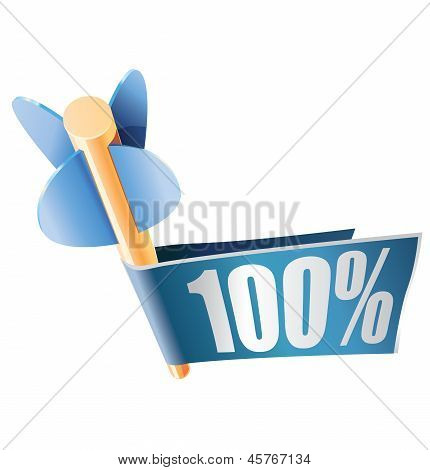 Wooden arrow with bright banner and text 100%