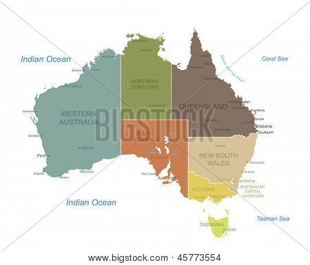 Australia-highly detailed map.All elements are separated in editable layers clearly labeled. Vector