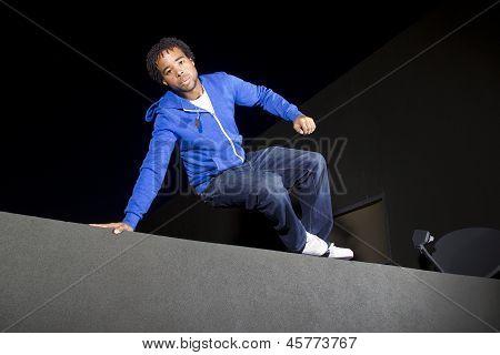 male parkour runner
