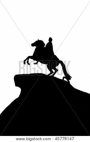 Black silhouette of a monument Bronze Horseman on a white background to St. Petersburg Russia poster