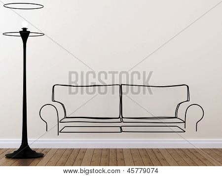 The Contour Of The Sofa And Floor Lamp