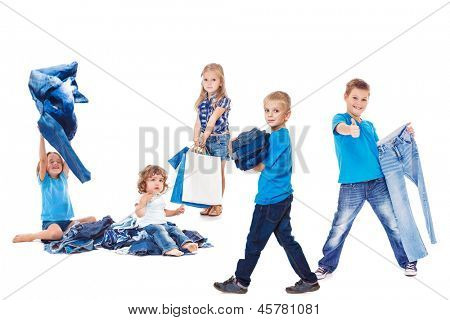 Happy kids group with jeans clothing