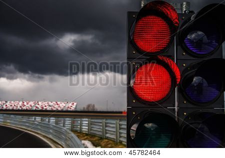Traffic Light On Race Track