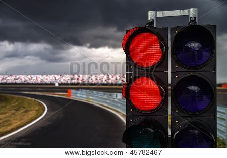 MOSCOW - April 24: Traffic light of Moscow Raceway track on April 24, 2013 in Moscow Russia