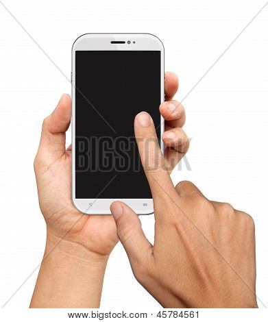 Hands Are Holding And Point On White Smart Phone
