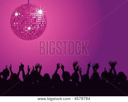 Pink Disco Ball & Crowd
