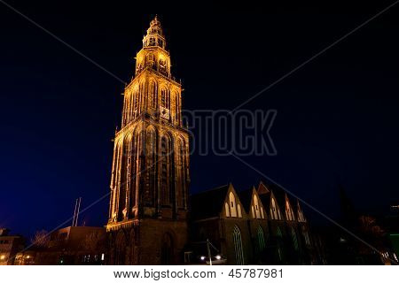 famous Martinitoren (Martini tower) in Groningen at night Netherlands poster