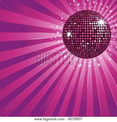 Purple Disco Ball And Stars