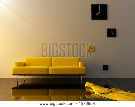Interior - Yello Velvet, Sofa And Time Zone Clock