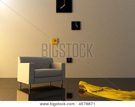 Interior - Time Zone Clock On Modern Style Room