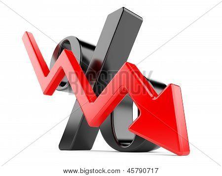 Black Percent Symbol With An Arrow Down