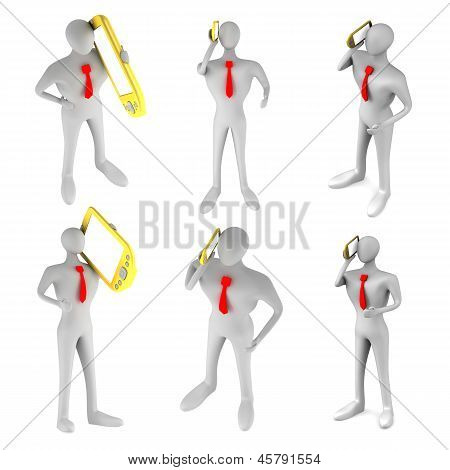 Set Of 3D Persons Who Talking On The Phone
