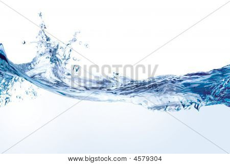 Water Splash Isolated On White.