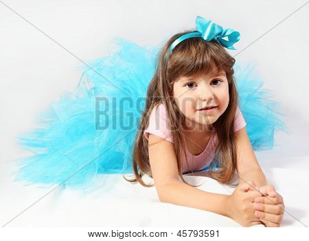 Smiling Little Girl Laying